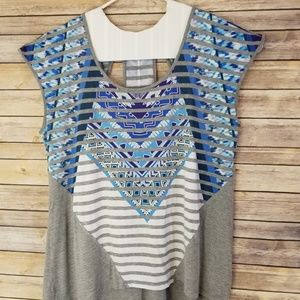 Blue Tribal Print Ladies Top XXL cotton blend